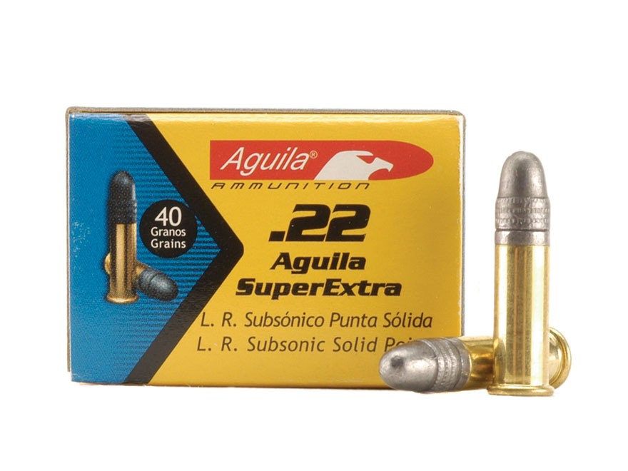 Aguila SuperExtra Ammunition 22 Long Rifle 40 Grain Lead Round Nose Subsonic Box of 500 (10 Boxes of 50)