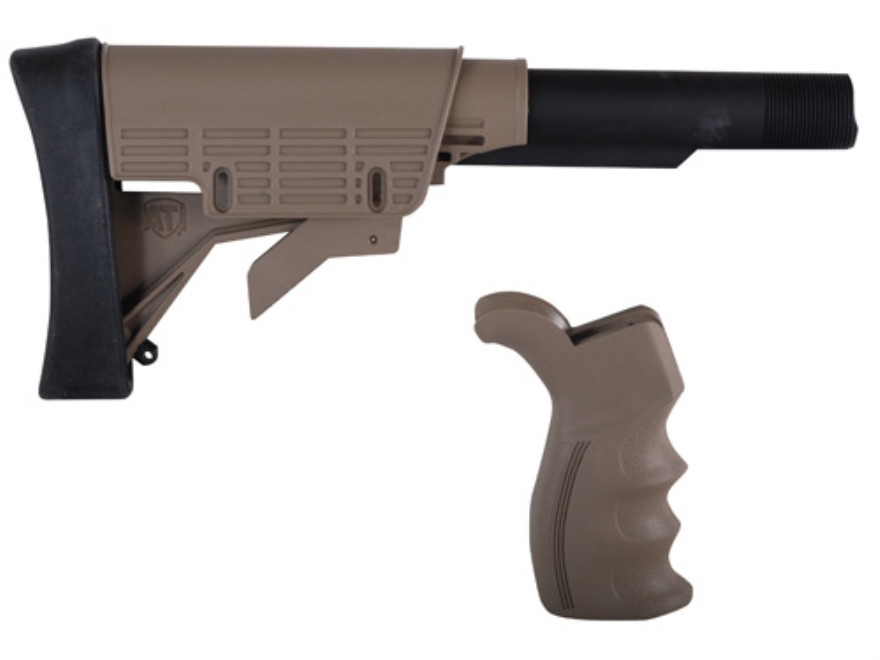 Advanced Technology Strikeforce Stock Assembly and Pistol Grip Set 6-Position Collapsible Commercial Diameter with Scorpion Recoil System AR-15 Carbine Polymer Desert Tan