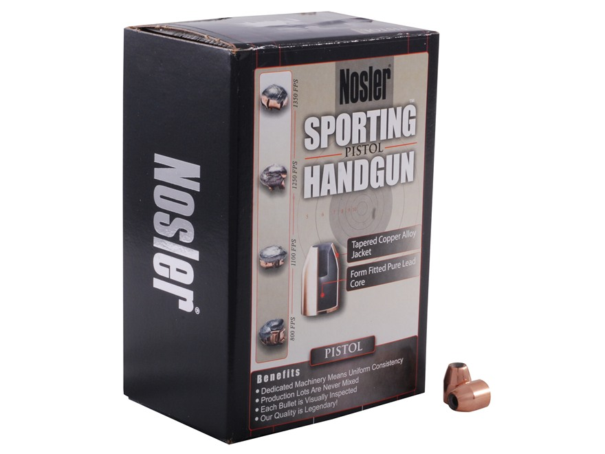Nosler Sporting Handgun Bullets 40 S&W, 10mm Auto (400 Diameter) 150 Grain Jacketed Hol...