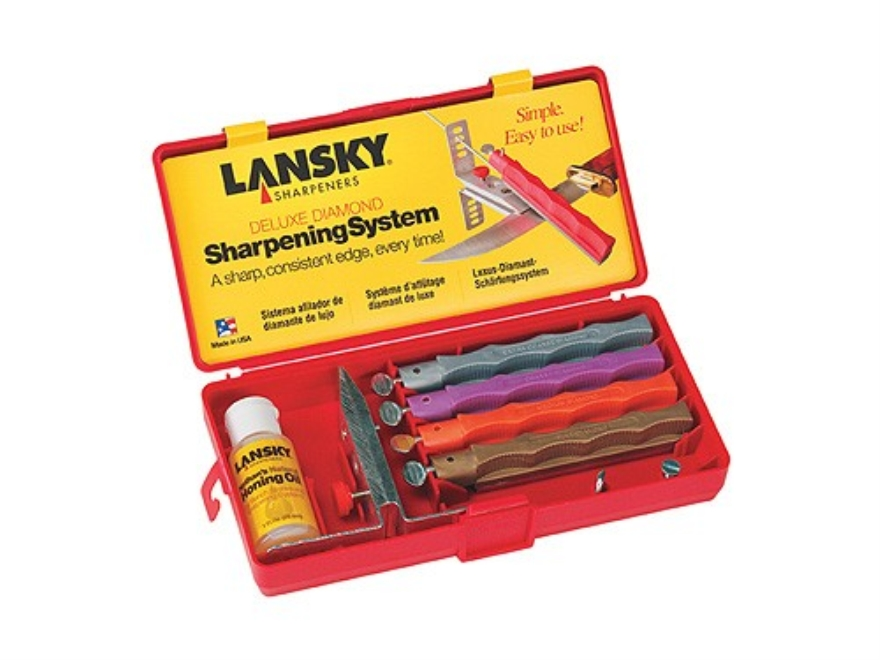 Lansky Deluxe Diamond Knife Sharpening System with Extra Coarse, Coarse, Medium and Fin...