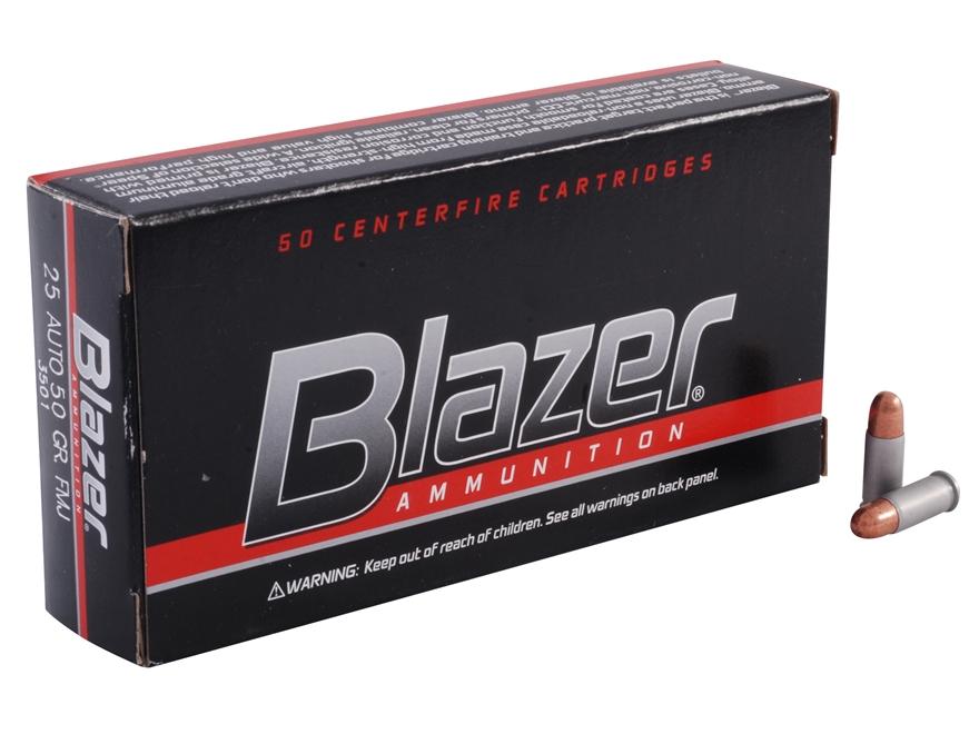 CCI Blazer Ammunition 25 ACP 50 Grain Full Metal Jacket Box of 50