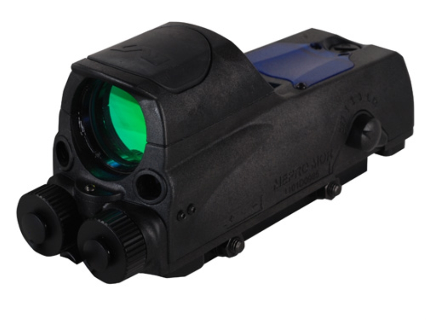 Meprolight MOR Tri-Powered Reflex Sight 1x 30mm 4.3 MOA Dot with 5mW Red Laser Aiming Device and Quick Release Picatinny-Style Mount Matte