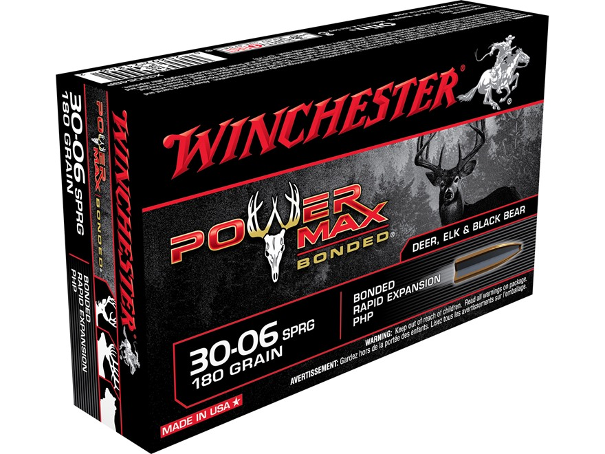 Winchester Power Max Bonded Ammunition 30-06 Springfield 180 Grain Protected Hollow Point Box of 20