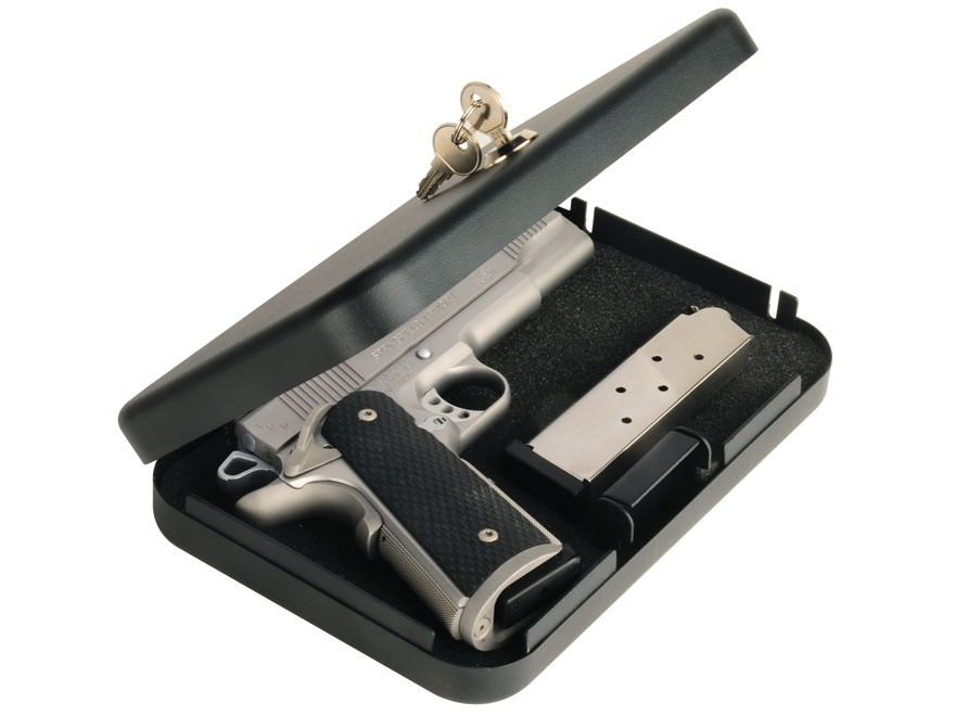 "Secure-It Large Long Hinge Pistol Security Box 9-1/2"" x 6-1/2"" x 1-3/4"" Steel Black"