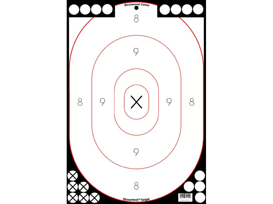 "Birchwood Casey Shoot-N-C White/Black 12"" x 18"" Silhouette Targets Package of 5"
