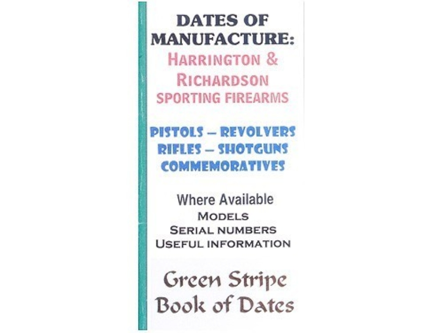 "Green Stripe Data Books ""Harrinton and Richards"" Book by Firing Pin Enterprises"
