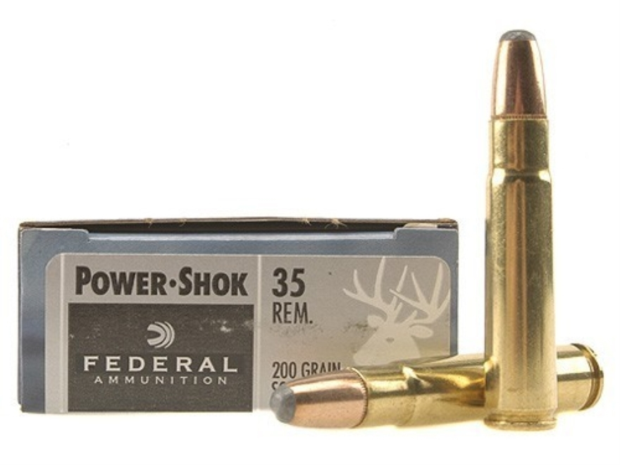 Federal Power-Shok Ammunition 35 Remington 200 Grain Round Nose Soft Point Box of 20