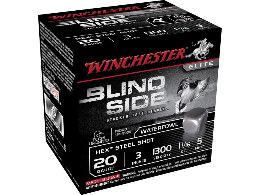 "Winchester Blind Side Ammunition 20 Gauge 3"" 1-1/16 oz #5 Non-Toxic Steel Shot"