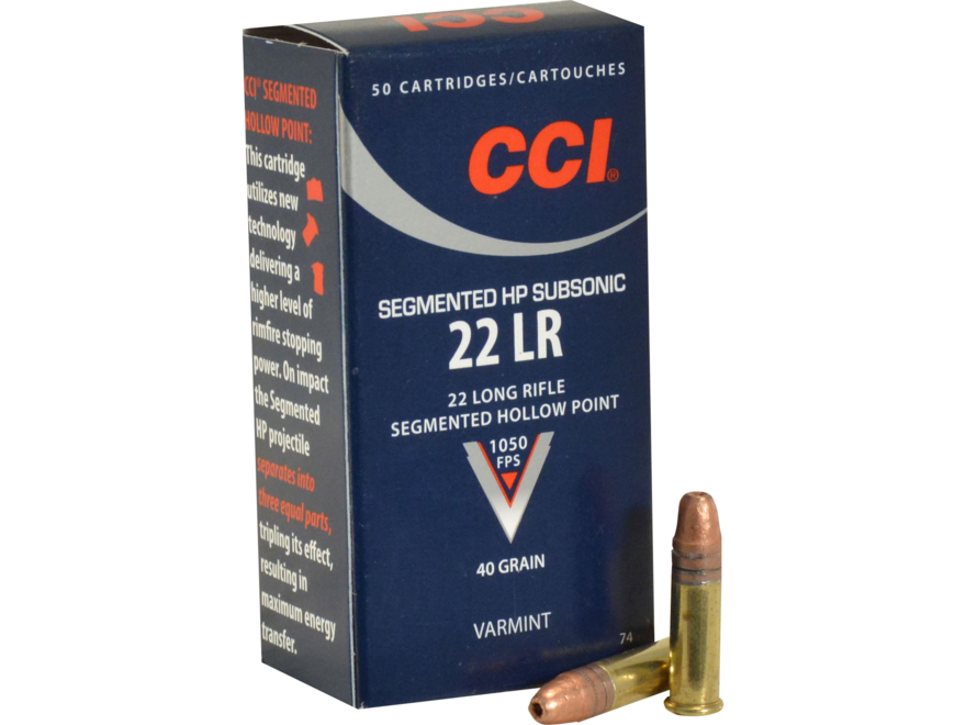 CCI Quik-Shok Ammunition 22 Long Rifle Subsonic 40 Grain Plated Lead Hollow Point