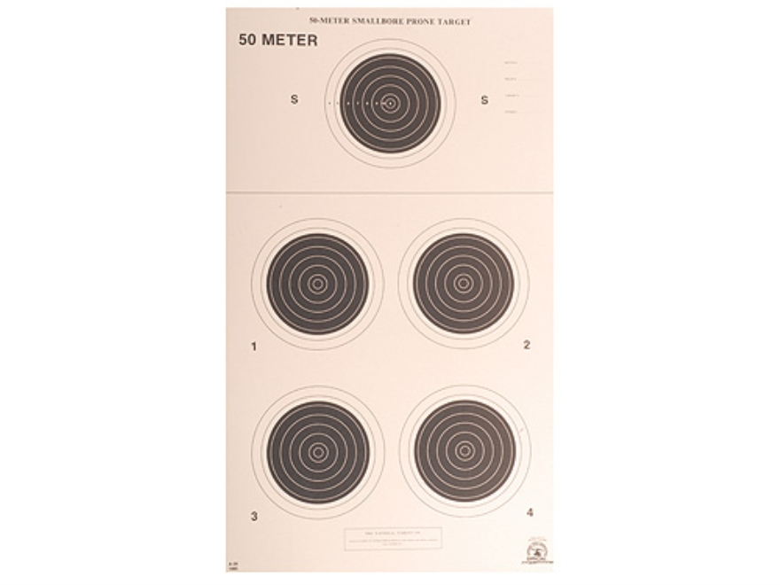 NRA Official Smallbore Rifle Targets A-26 50-Meter Prone Paper Package of 100
