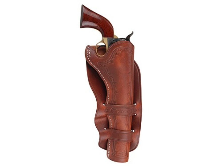 "Oklahoma Leather Cheyenne Double Loop Holster Right Hand Single Action 4.75"" Barrel Leather Brown"