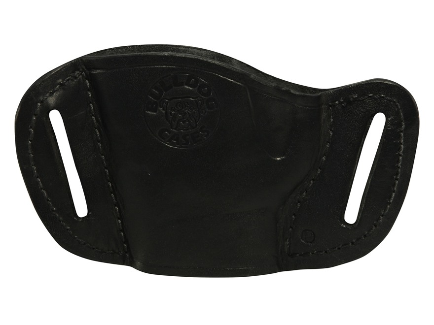 Bulldog Belt Slide Holster Fits Medium Frame Autos Right Hand Leather Black