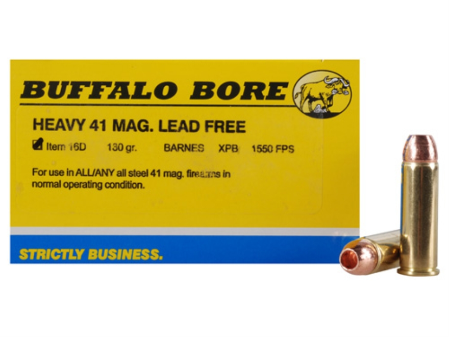 Buffalo Bore Ammunition 41 Remington Magnum 180 Grain Barnes XPB Solid Copper Hollow Point Lead-Free Box of 20