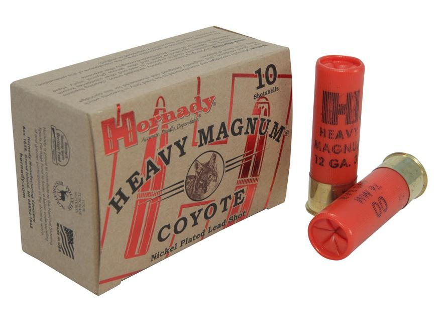 "Hornady Heavy Magnum Coyote Ammunition 12 Gauge 3"" 00 Buckshot Nickel Plated Box of 10"