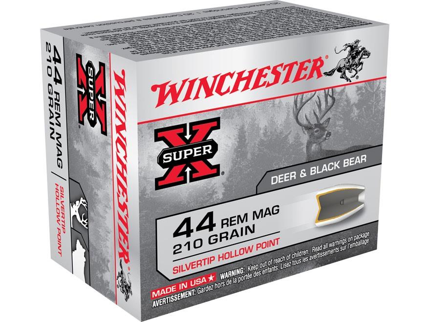 Winchester Super-X Ammunition 44 Remington Magnum 210 Grain Silvertip Hollow Point Box of 20