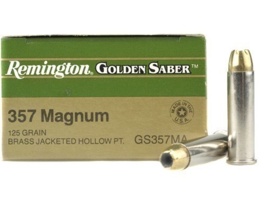 Remington Golden Saber Ammunition 357 Magnum 125 Grain Brass Jacketed Hollow Point Box ...