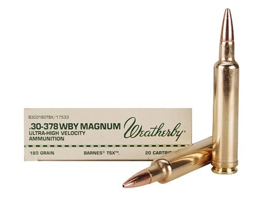 Weatherby Ammunition 30-378 Weatherby Magnum 180 Grain Barnes Triple-Shock X Bullet Hollow Point Lead-Free Box of 20