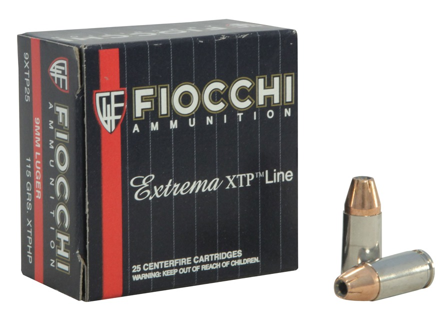 Fiocchi Extrema Ammunition 9mm Luger 115 Grain Hornady XTP Jacketed Hollow Point Box of 25