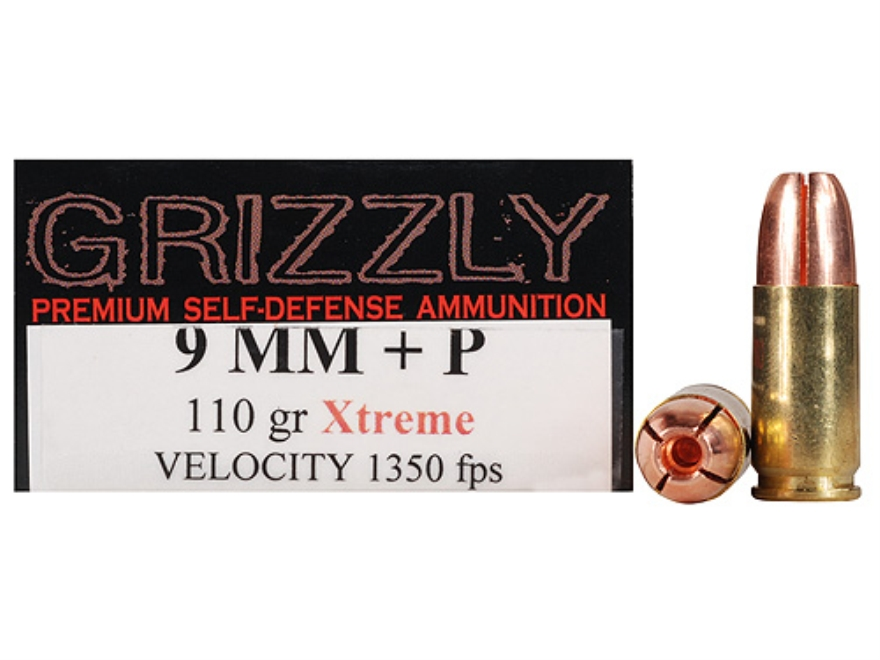 Grizzly Self-Defense Ammunition 9mm Luger +P 110 Grain Xtreme Copper Hollow Point Lead-Free Box of 20