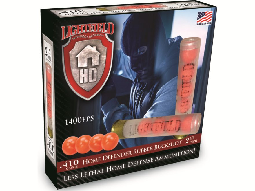 "Lightfield Home Defender Less Lethal Ammunition 410 Bore 2-1/2"" Rubber Buckshot 4 Pellets Box of 5"