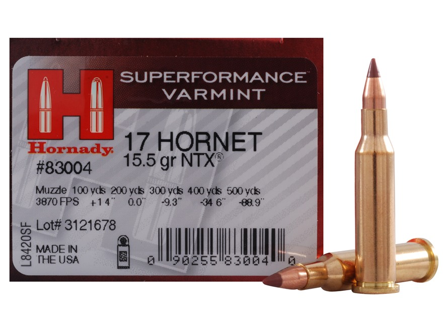Hornady SUPERFORMANCE Varmint Ammunition 17 Hornet 15.5 Grain NTX Lead