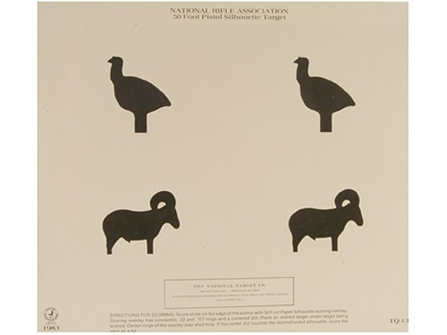 NRA Official Pistol Targets TQ-13 50' Turkey and Ram Silhouette Paper Package of 100