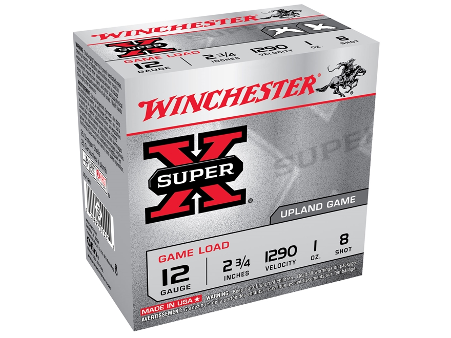"""Winchester Super-X Game Load Ammunition 12 Gauge 2-3/4"""" 1 oz #8 Shot"""