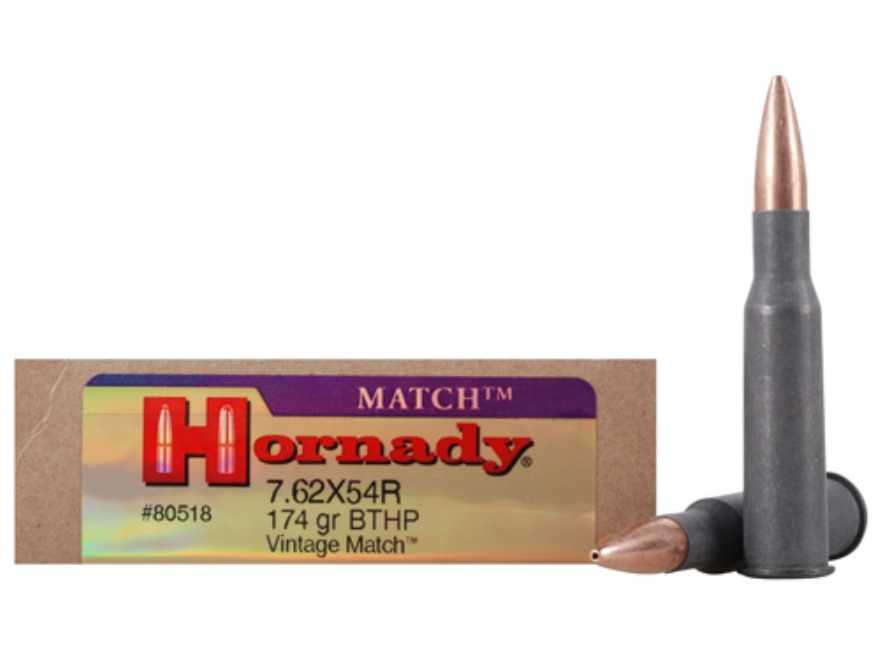 Hornady Vintage Match Ammunition 7.62x54mm Rimmed Russian 174  Grain Boat Tail Hollow Point Steel Case Box of 20