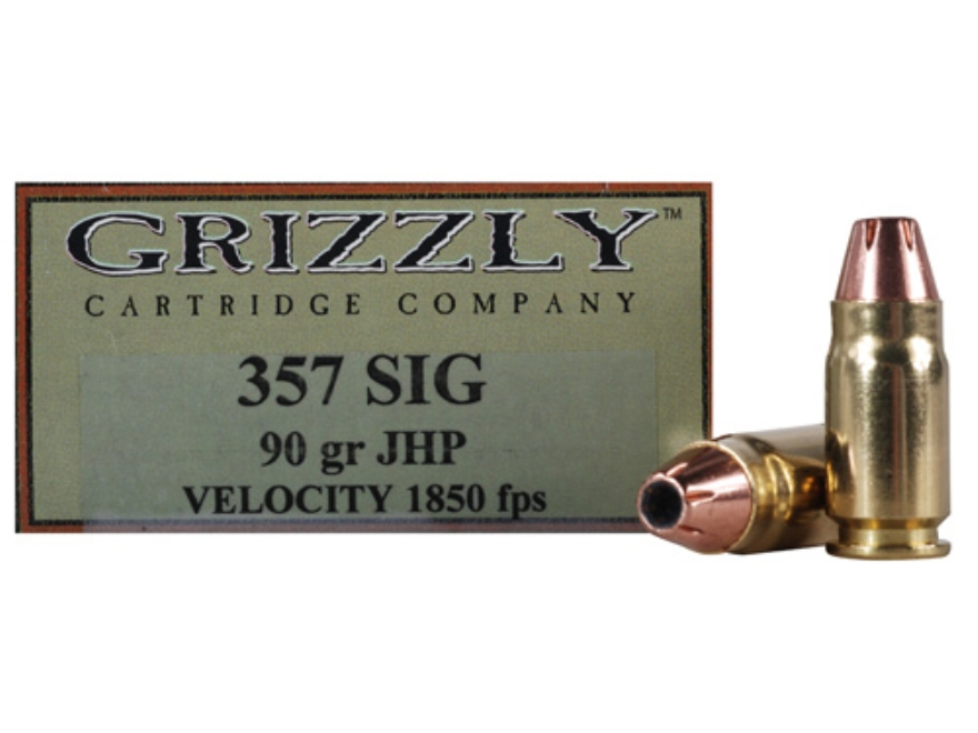 Grizzly Ammunition 357 Sig 90 Grain Jacketed Hollow Point Box of 20