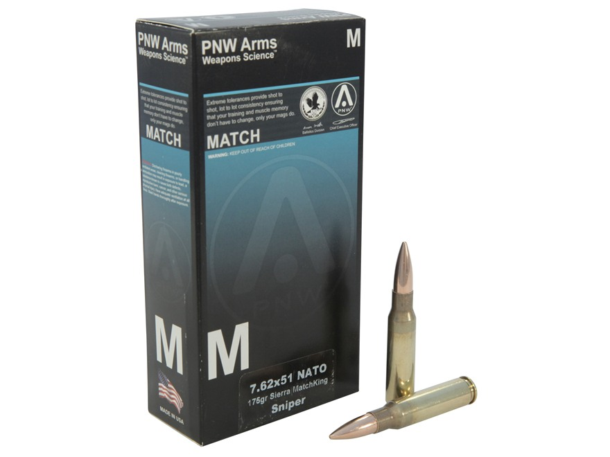 PNW Arms Sniper Ammunition 7.62x51mm NATO 175 Grain Sierra MatchKing Hollow Point Boat Tail Box of 20