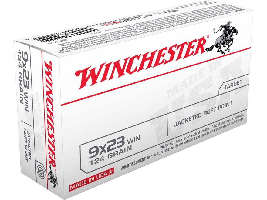 Winchester USA Ammunition 9x23mm Winchester 124 Grain Jacketed Flat Nose Box of 50