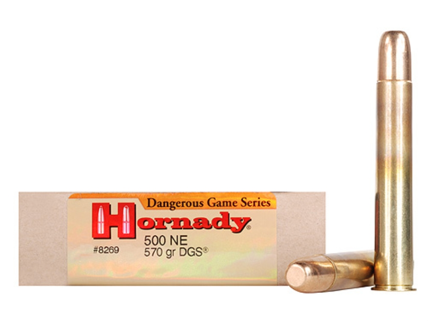 "Hornady Dangerous Game Ammunition 500 Nitro Express 3"" 570 Grain DGS Round Nose Solid Box of 20"