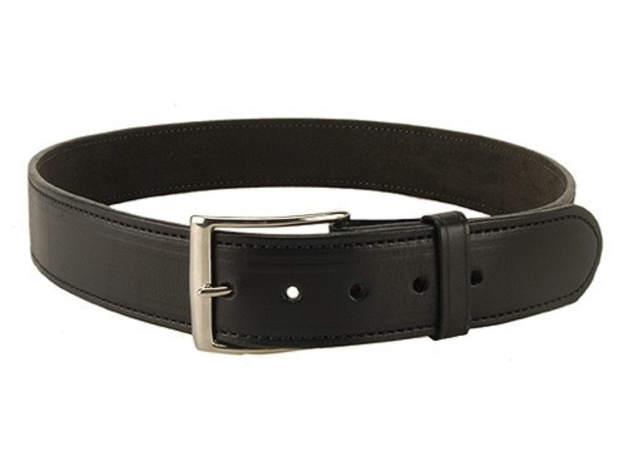 "DeSantis Plain Holster Belt 1-3/4"" Nickel Plated Brass Buckle Suede Lined Leather"