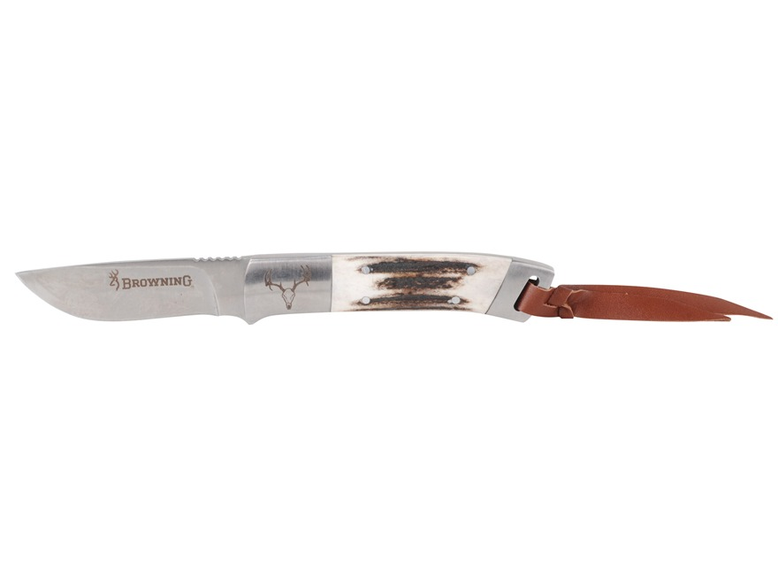 "Browning Lil' Bit Large Fixed Blade Knife 3.25"" Drop Point Sandvik 12C27 Stainless Stee..."