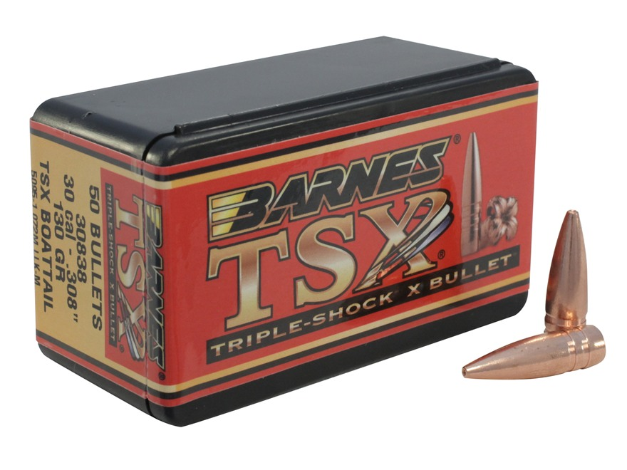 Barnes Triple-Shock X Bullets 30 Caliber (308 Diameter) 130 Grain Hollow Point Boat Tai...