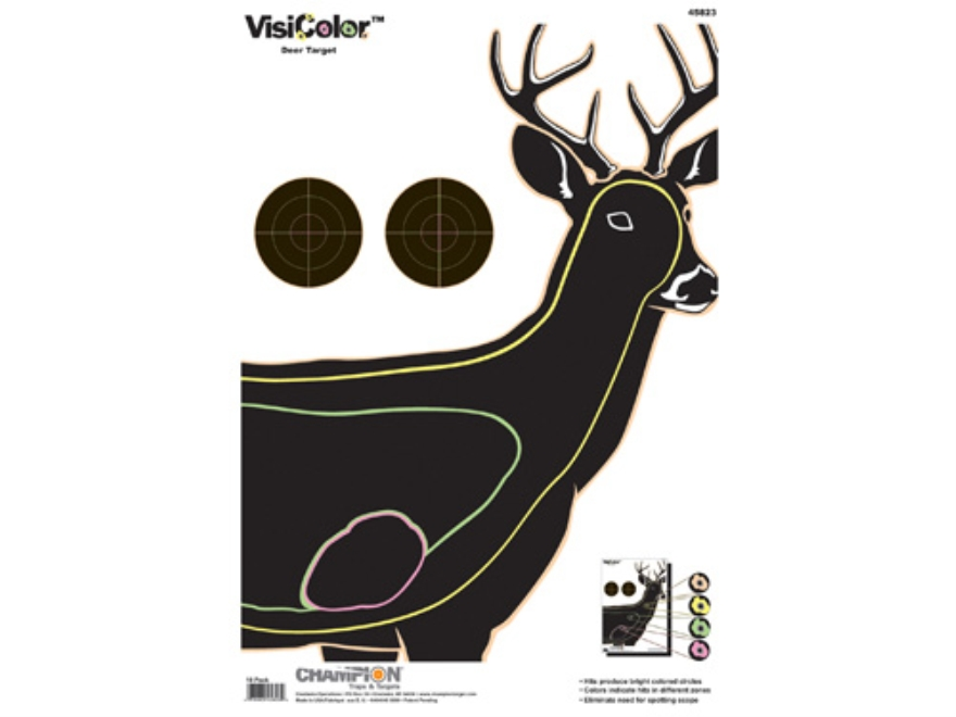 "Champion VisiColor Deer Target 13"" x 18"" Paper Package of 10"