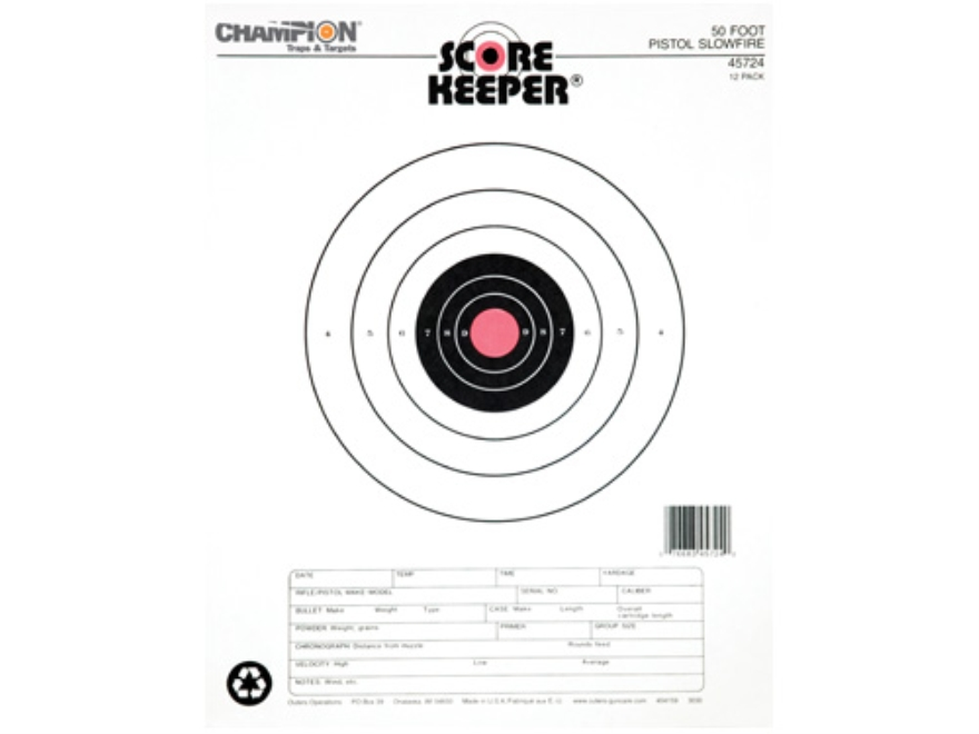 "Champion Score Keeper 50 Ft Slow Fire Pistol Targets 11"" x 16"" Paper Orange Bull Pack o..."