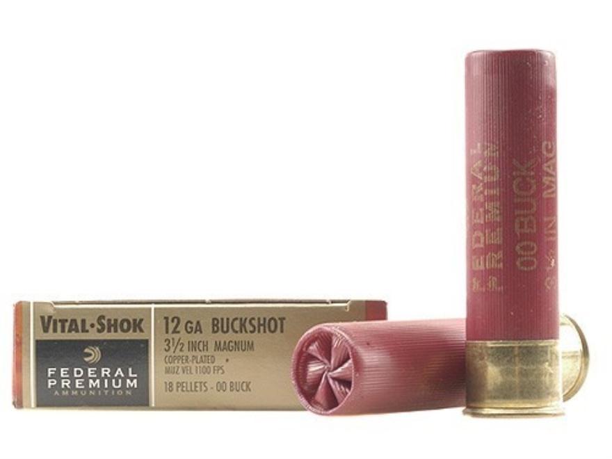"Federal Premium Vital-Shok Ammunition 12 Gauge 3-1/2"" Buffered 00 Copper Plated Bucksho..."