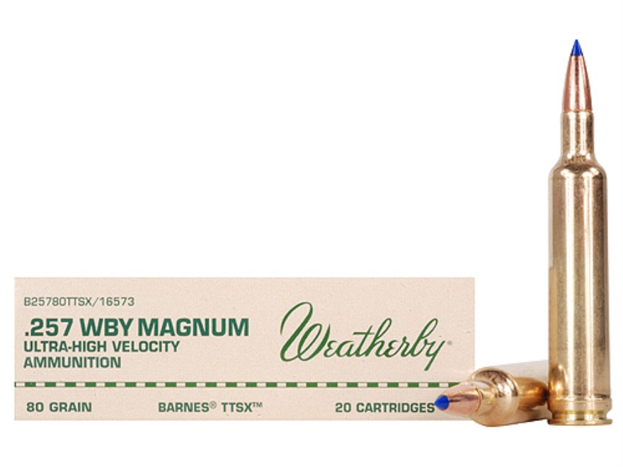Weatherby Ammunition 257 Weatherby Magnum 80 Grain Barnes Tipped Triple-Shock X Bullet Lead-Free Box of 20