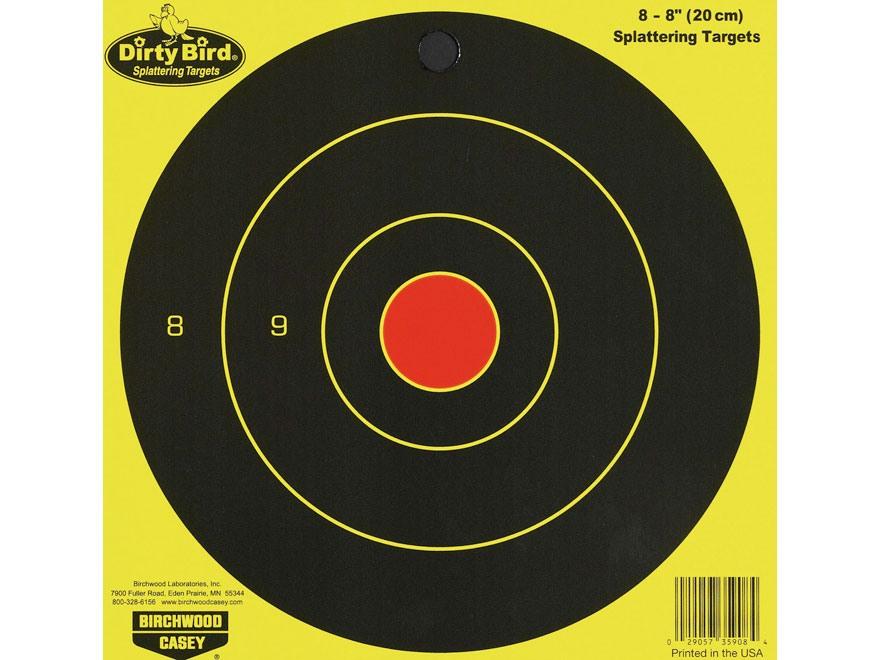 "Birchwood Casey Dirty Bird Chartreuse 8"" Bullseye Targetss Package of 8"