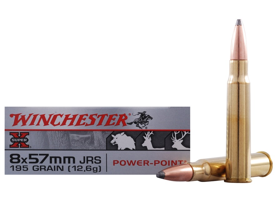 Winchester Super-X Ammunition 8x57mm JRS Mauser (Rimmed Mauser) 195 Grain Power-Point Box of 20