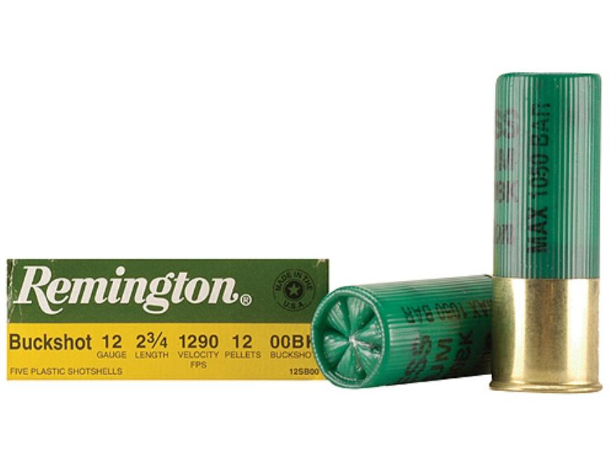 "Remington Express Ammunition 12 Gauge 2-3/4"" 00 Buckshot 12 Pellets Box of 5"