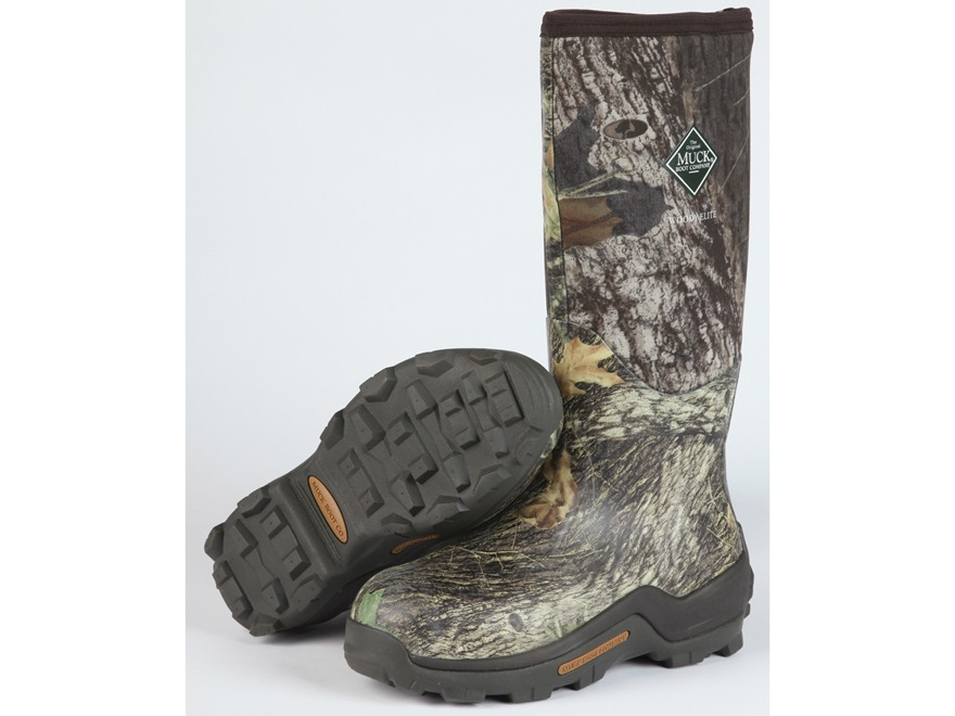 "Muck Woody Elite 17"" Waterproof Insulated Hunting Boots Rubber and Nylon Mossy Oak Break-Up Camo Men's 5 D"