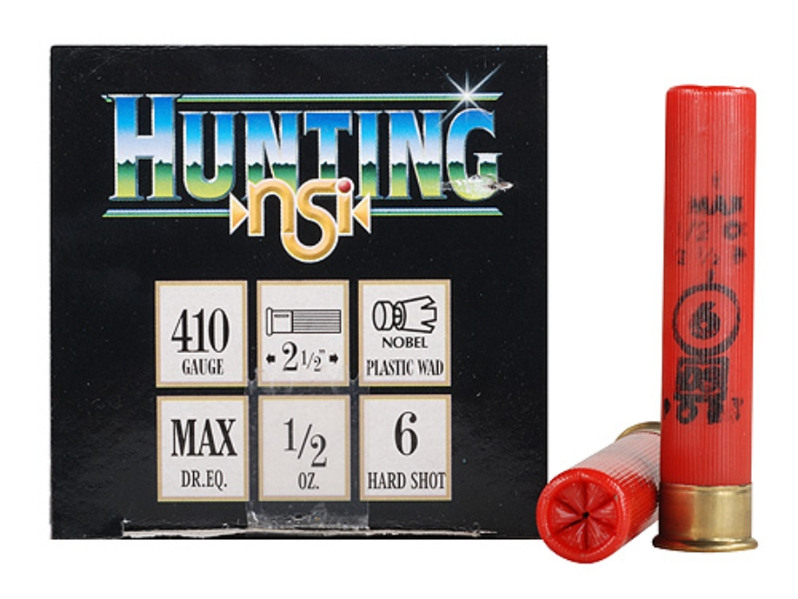 "NobelSport Hunting Ammunition 410 Bore 2-1/2"" 1/2 oz #6 Shot Box of 25"