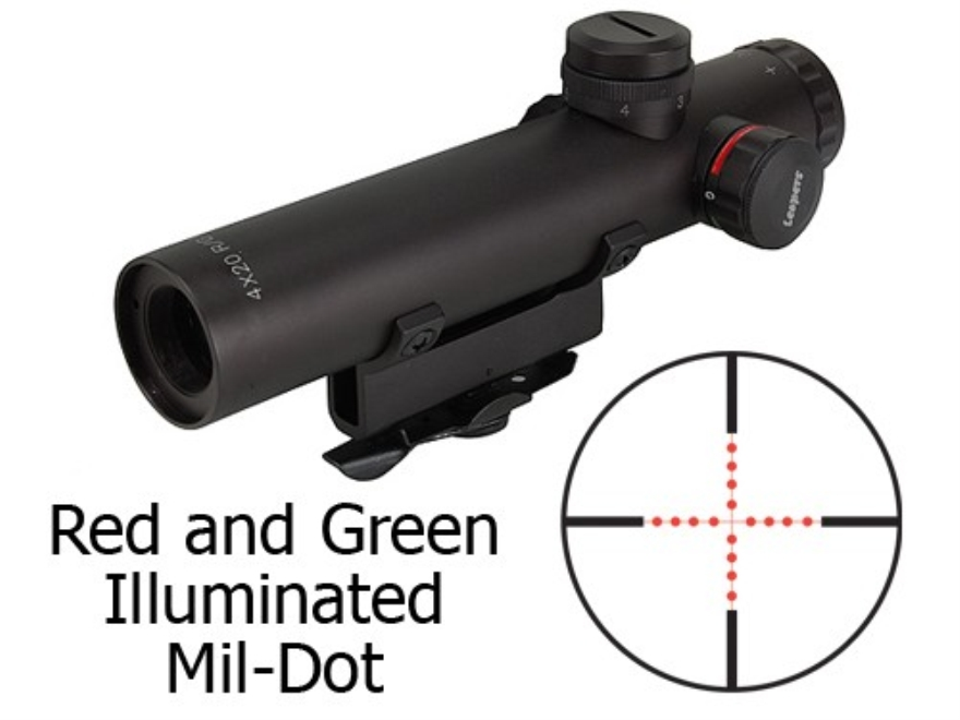 Leapers Utg Model 4 15 Rifle Scope 4x 20mm Red Green