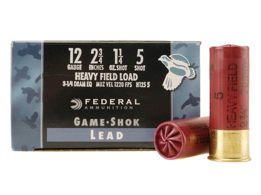 "Federal Field-Shok Heavy Game Load Ammunition 12 Gauge 2-3/4"" 1-1/4 oz #5 Shot Box of 25"