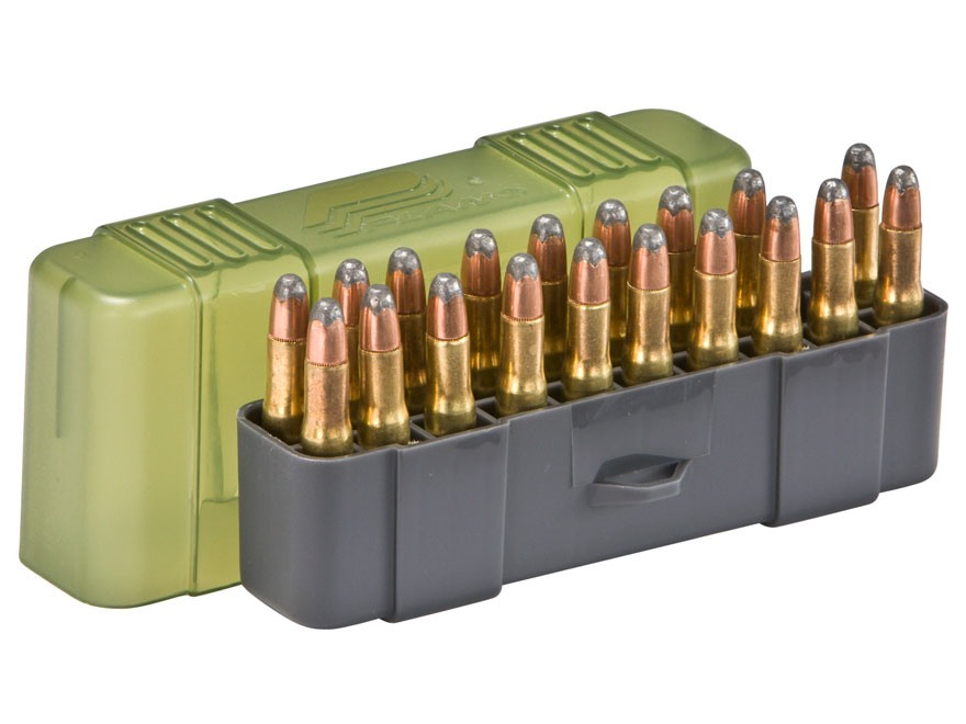 Plano Ammo Box 22-250 Remington, 250 Savage, 35 Remington 20-Round Plastic Olive Drab and Clear Green