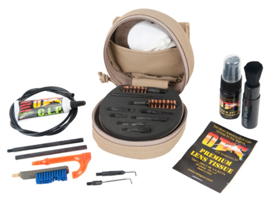 Otis Military Mil-Spec M4/M16/AR-15 Soft Pak Cleaning Kit Anti-Glare Black with Optics Cleaning Kit
