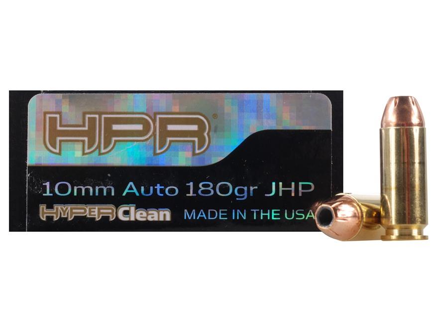 HPR HyperClean Ammunition 10mm Auto 180 Grain Hornady XTP Jacketed Hollow Point Box of 50
