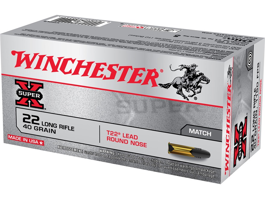 Winchester Super-X T22 Target Ammunition 22 Long Rifle 40 Grain Lead Round Nose Box of 500 (10 Boxes of 50)